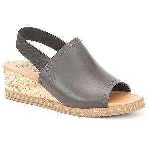 Sandália Anabela Feminina em Couro Wuell Casual Shoes - Funis - TI 00322 - preto