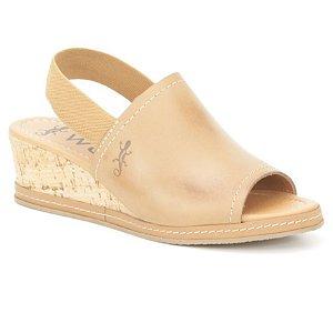 Sandália Anabela Feminina em Couro Wuell Casual Shoes  - Funis - TI 00322 - marrom