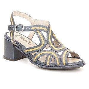 Sandália Feminina em couro Wuell Casual Shoes - Castelo - JMD 0500 - azul e amarelo