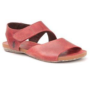 Sandália Rasteira Feminina em Couro Natural Wuell Casual Shoes - Contas - VC 02010 – vermelho