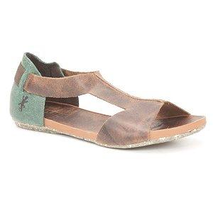 Sandália Rasteira Feminina em Couro Natural Wuell Casual Shoes - Contas - VC 85010 – marrom e verde