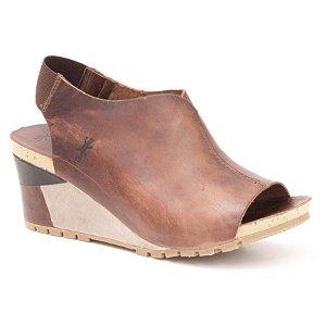 Sandália salto anabela Feminina em Couro Wuell Casual Shoes - Contas - VC 06170 - marrom