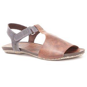Sandália Rasteira Feminina em Couro Wuell Casual Shoes - Contas - VC 60110 - marrom e marinho