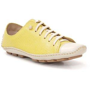 Sapatenis Feminino em Couro Wuell Casual Shoes - Madri 301 - marfim e amarelo