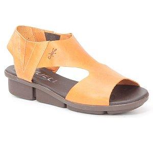 Sandália anabela Feminina em Couro Wuell Casual Shoes - Pati -  RO 07311 - laranja