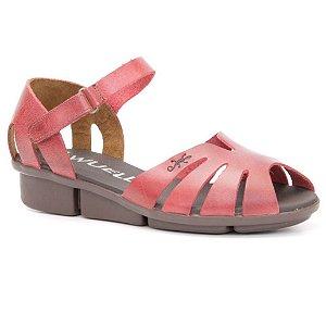 Sandália anabela Feminina em Couro Wuell Casual Shoes - Pati - RO 05311 - vermelho