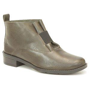 Bota de salto baixo Feminina em Couro Wuell Casual Shoes - BZ 5650 - verde militar