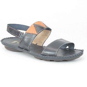 Sandália Rasteira Feminina em couro Wuell Casual Shoes - MB 3970 - azul marinho e laranja