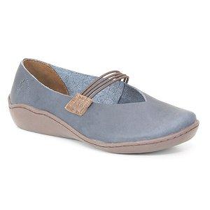 Sapatilha Feminina em Couro Natural Wuell Casual Shoes - Pati - RO 79510 - azul e marrom