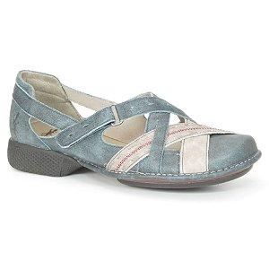 Sapato feminino em couro Wuell Casual Shoes - Castelo - JAD 0900 - azul e cinza