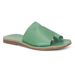 Sandália Rasteira Feminina em Couro Wuell Casual Shoes – MIZ 9317 – verde