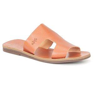 Sandália Rasteira Feminina em Couro Wuell Casual Shoes – MIZ 1218 – laranja queimado