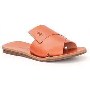 Sandália Rasteira Feminina em Couro Wuell Casual Shoes – MIZ 9917 – laranja queimado