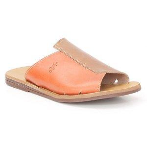 Sandália Rasteira Feminina em Couro Wuell Casual Shoes – MIZ 1019 – laranja queimado