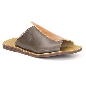 Sandália Rasteira Feminina em Couro Wuell Casual Shoes – MIZ 1019 – musgo e marrom