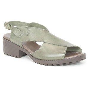 Sandália Feminina de salto médio em couro Wuell Casual Shoes - VN 127407 - verde
