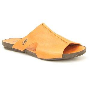 Sandália Rasteira Feminina em Couro Wuell Casual Shoes - VC 44610 - laranja