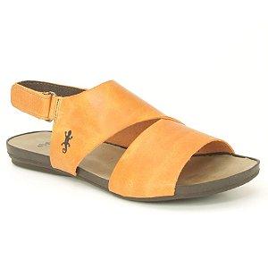 Sandália Rasteira Feminina em Couro Wuell Casual Shoes - VC 02110 - laranja