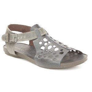 Sandália Rasteira Feminina em Couro Wuell Casual Shoes - VC 31610 - azul marinho e carbono