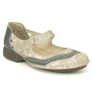 Sapato Feminino em couro Wuell Casual Shoes - JAD 7300 - azul e marfim