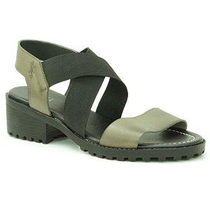 Sandália Feminina de salto médio em couro Wuell Casual Shoes - VN 140407 - verde e preto