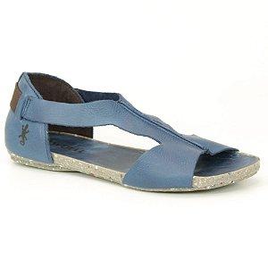Sandália Rasteira Feminina em Couro Natural Wuell Casual Shoes - VC 85010 – azul