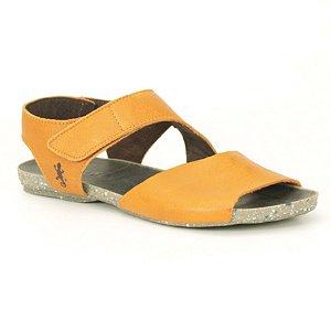 Sandália Rasteira Feminina em Couro Natural Wuell Casual Shoes - VC 02010 – laranja