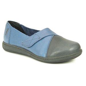 Sapato feminino em Couro Natural Wuell Casual Shoes - VC 73480 –   azul e preto