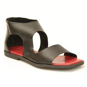 Sandália Feminina em Couro Natural Wuell Casual Shoes – ZTG 9629 –  preta