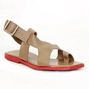 Sandália Feminina em Couro Natural Wuell Casual Shoes – ZTG 0530  –  areia