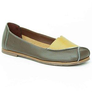 Sapato Feminino em Couro Natural Wuell Casual Shoes – MIZ 2119  –  verde musgo e amarelo