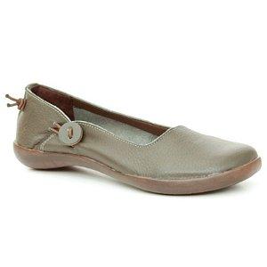 Sapatinha feminina em Couro Natural Wuell Casual Shoes – MIZ 7716  –  verde musgo