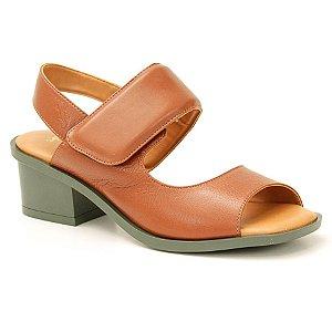 Sandália Feminina salto médio em couro Wuell Casual Shoes - LEB 06851 - marrom