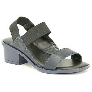 Sandália Feminina salto médio em couro Wuell Casual Shoes - LEB 10935 - azul