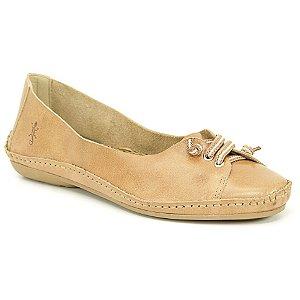 Sapatilha feminina em Couro Natural Wuell Casual Shoes - DA 9402 – areia