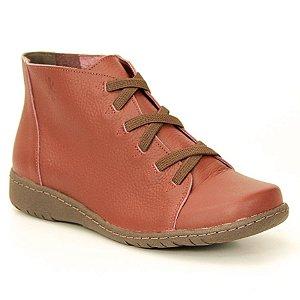 Bota feminina em Couro Natural Wuell Casual Shoes - VN 331781 – bordô e marrom