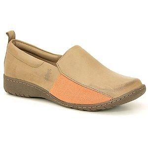 Sapato feminino em Couro Natural Wuell Casual Shoes - VN 196681 – marrom e laranja