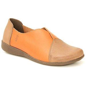 Sapato feminino em Couro Natural Wuell Casual Shoes - VN 158641 – marrom e laranja