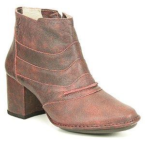 Bota Feminina em Couro Natural Wuell Casual Shoes - JDE 0500 - bordô