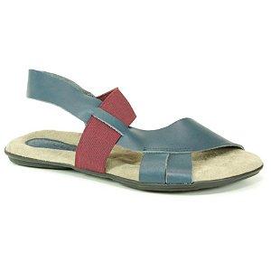 Sandália Feminina em couro Wuell Casual Shoes - VN 349232 – azul e bordô