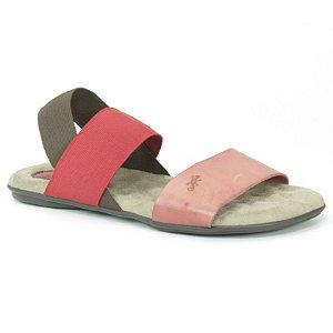 Sandália Rasteira Feminina em couro Wuell Casual Shoes - VN 211232 - vermelha