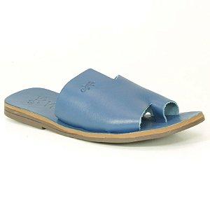 Sandália Rasteira Feminina em Couro Wuell Casual Shoes – MIZ 9317 – azul