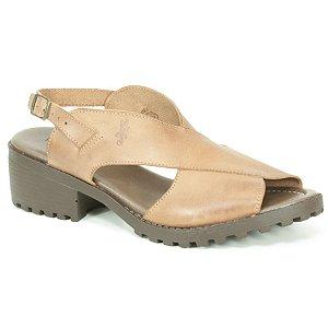 Sandália Feminina de salto médio em couro Wuell Casual Shoes - VN 127407 - marrom