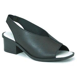 Sandália Feminina salto médio em couro Wuell Casual Shoes - LEB 01851 - preta e cinza