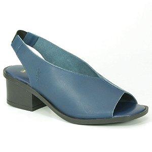 Sandália Feminina salto médio em couro Wuell Casual Shoes - LEB 01851 - azul