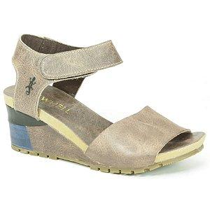 Sandália salto anabela Feminina em Couro Wuell Casual Shoes - VC 05570 - marrom claro