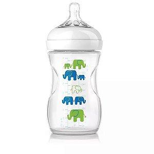 Mamadeira 260ml PETALA BPA Free Avent Transparente com Elefantes Azul Verde
