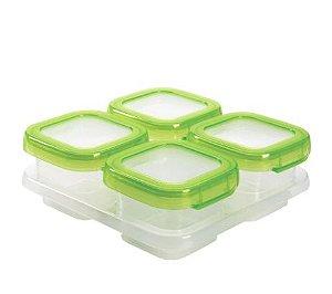Bandeja com 4 potes de armazenamento com tampa Oxo Tot (Baby Blocks)