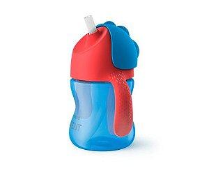 Copo Straw Cups com canudo e alça azul Avent (Dinossauro)