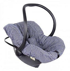 Capa para Bebê Conforto Xadrez Azul Marinho Candy Tree
